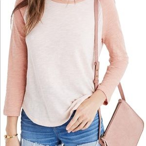 Madewell peach and pink baseball tee size XS.